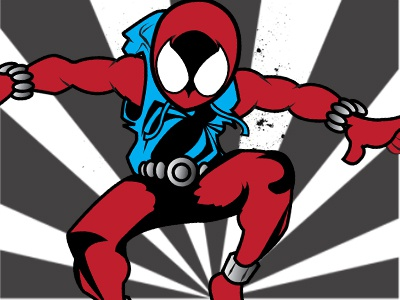 Scarlet spider character design illustration mascot illustrator marvel spiderman scarlet spider vector graphics animation