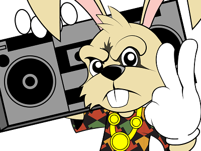 Hip Hop Bunny easter rabbit rap vector art illustration bunny hip hop characters