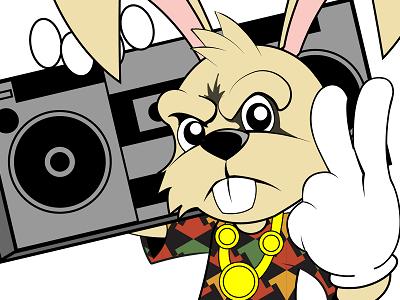Hip Hop Bunny easter rabbit rap vector art illustration bunny hip hop characters