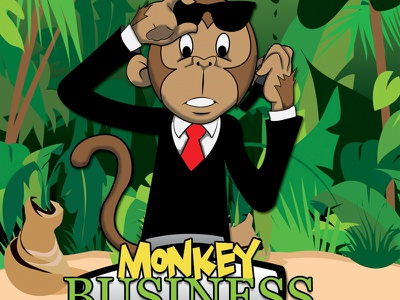 Monkey Business Label character design illustration mascot illustrator vector art graphics cartoon childrens book