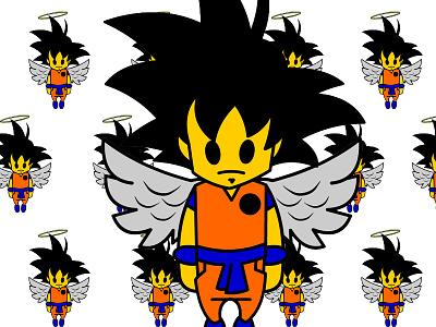 Angel Goku Kawaii vector animated anime cartoon dbz angel kawaii goku