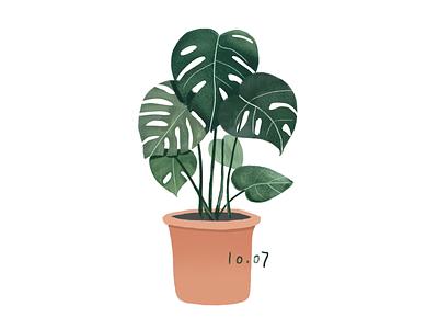 Daily practice_Photoshop_Green plants illustration