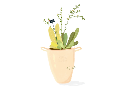 Daily practice_Photoshop_Green plants sketch illustration