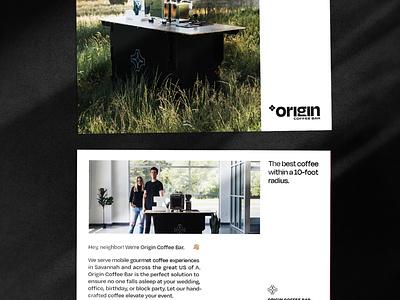 Origin Coffee Bar Mailers coffee branding postcard mailer design layout