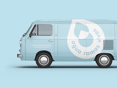 The Aguamobile beverage water logo van bus branding design graphic design