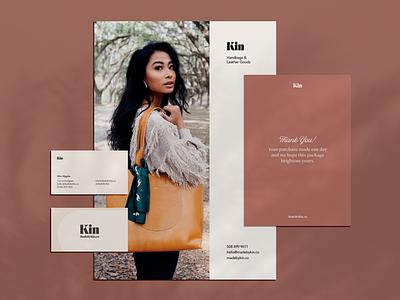 Kin Branded Materials visual identity type layout flyer business card logo branding brand kin