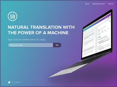 Lilt Website macbook gradient homepage startup landing page web app