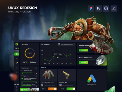 Buff games - redesign of the app. applicaiton interface buff gaming app webdesign design ux ui