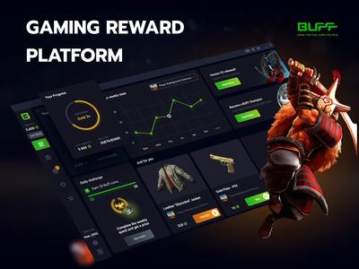 Buff games - redesign of the app - reward platform design animated animation applicaiton platform reward csgo dota2 gaming app ui ux