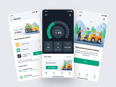 Kör digital platform for drivers minimal mobile interface inspiration branding animated design animation ui ux