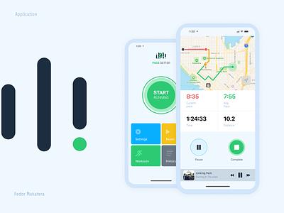 Running mobile app with music player white design white app minimalist pace music app running app runnig design mobile app applicaiton