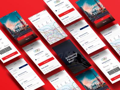Tokyo 2020 Olympics app screens screens ui screens ui designs ui  ux buy purchase events bookings signup login tokyo olympics tickets travel transport maps navigation app  design app