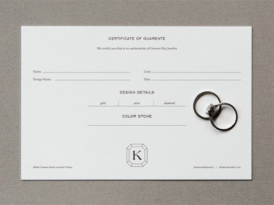 Osman Kılıç Jewelry Certificate editorial monogram emblem identity logotype minimal print design layout design typography graphic design brand identity jewelry branding jewelry logo branding card design certificate design jewelry certificate