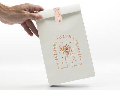 Pharmacy Paperbag kraft bag paper bag marmara forum eczanesi logotype print logo design identity minimal packaging illustration istanbul typography vintage logo branding pharmacy