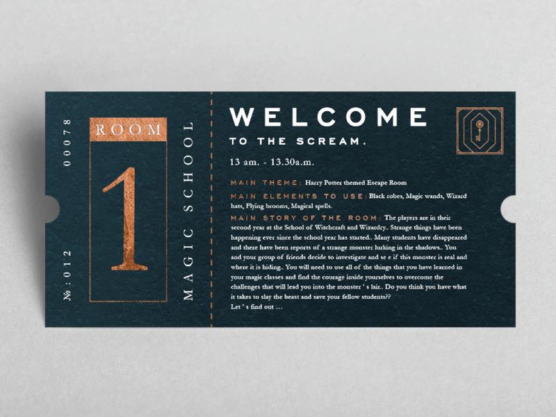 Ticket label design dubai ticket design escape room ticket graphic design typography logo vintage identity branding