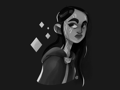 Druid art design character design cartoon illustration fantasy girl dnd portrait