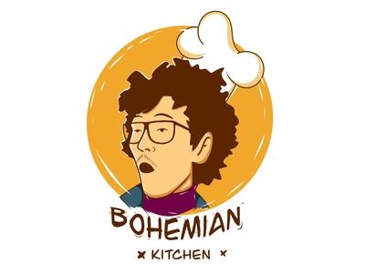 Bohemian Kitchen logo design type flat illustrator branding vector minimal icon design procreate logo