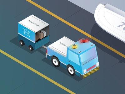 Luggage car planet luggage car design illustration lights isometric vector illustrator ishu