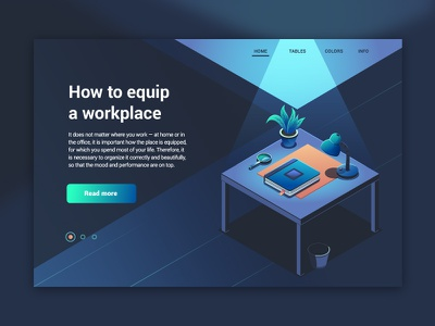 Workplace concept lights flat worplace isometric