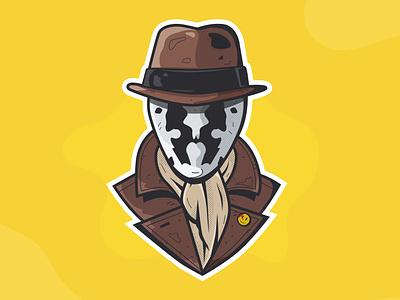 Rorschah comics dc watchmen superhero ishu texture illustration vector illustrator design