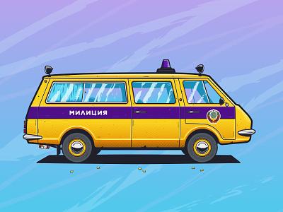 RAF-22033 criminal ussr police minivan car gradient lights illustration texture illustrator ishu design vector