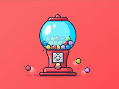 Candy machine red ball gradient vector texture illustration ishu illustrator design machine candy
