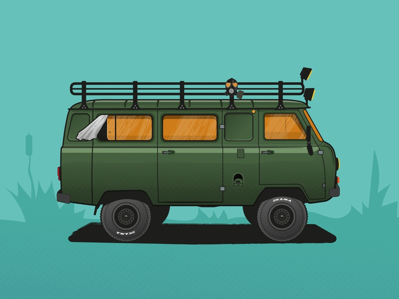UAZ-452 / Buhanka graphic 4x4 car danger design texture illustrator illustration vector ishu russia sovietunion offroad business card buhanka uaz452 uaz