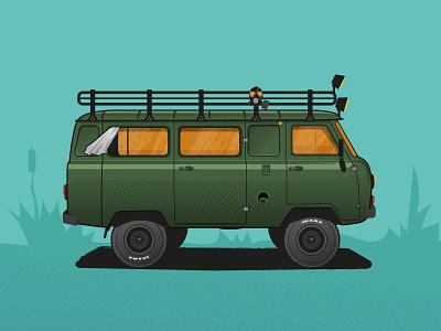 UAZ-452 / Buhanka graphic 4x4 car danger design texture illustrator illustration vector ishu russia sovietunion offroad business card buhanka uaz452 uaz