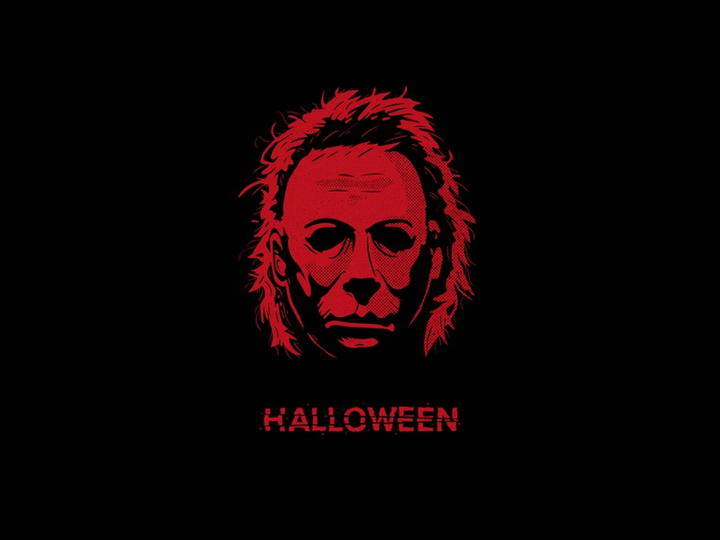 Happy Halloween horror movie dribbbleweeklywarmup halloween design red illustrator illustration texture vector design ishu halloween michael myers