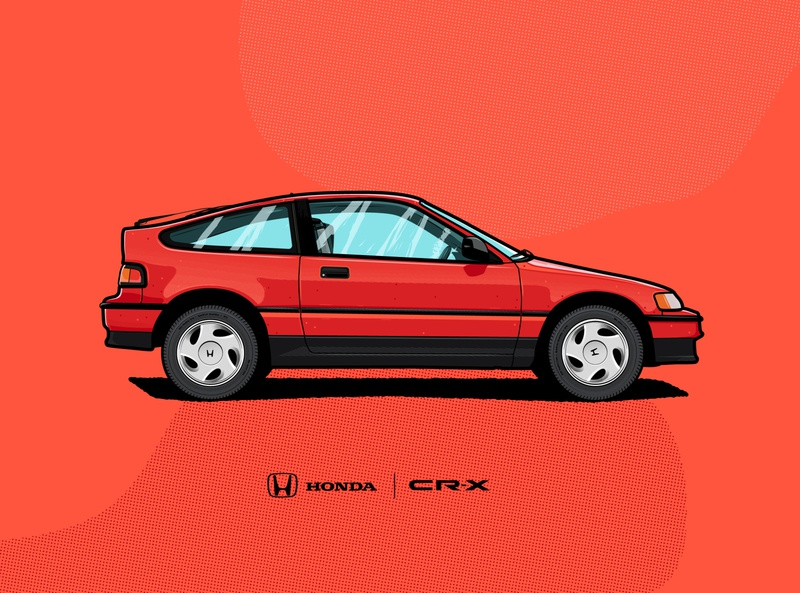 Honda CRX – 1990 red honda crx car texture vector illustration illustrator ishu design