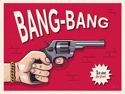 Bang-Bang wall arm red danger illustration vector illustrator ishu gunner shot gun