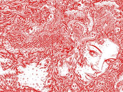 Secret kdlig doodle illustration penandink