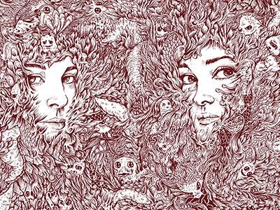 Sisters kdlig doodle illustration penandink