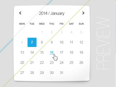 Calendar on 2014 ui design