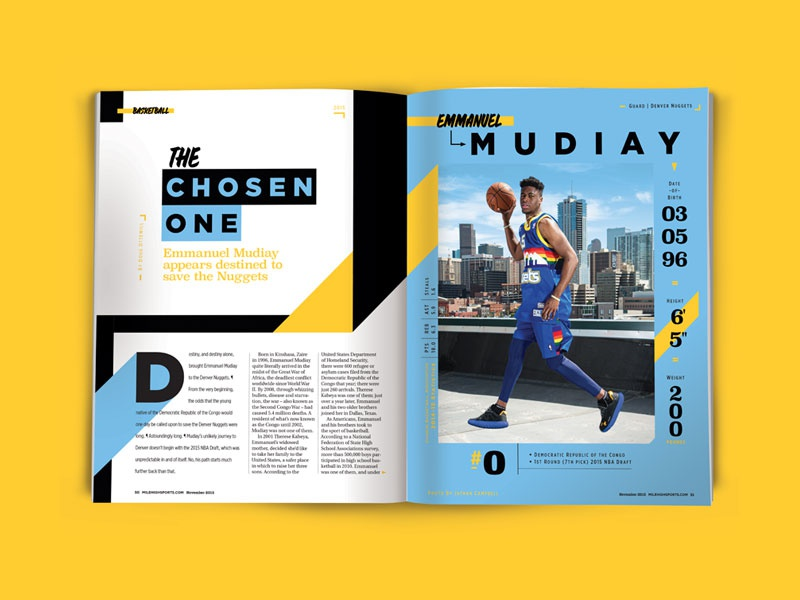 Editorial Design By Nick Heckman March2016 dropcap headline magazine layout basketball sports typography design publication editorial