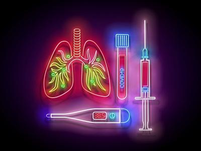 Neon Light Pandemic Illustration stayhome prevention virus illness pneumonia pandemic coronavirus covid-19 covid19 neon 3d vector