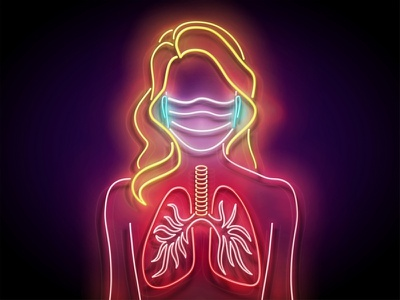 Neon Light Pandemic Illustration girl face mask respiratory prevention coronavirus covid-19 covid19 pandemic neon 3d vector