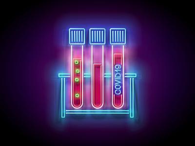 Neon Light Pandemic Illustration diagnostics laboratory corona virus blood test coronavirus covid-19 covid19 pandemic neon 3d vector