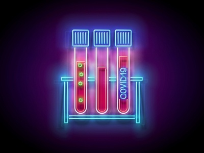 Neon Light Pandemic Illustration diagnostics laboratory corona virus blood test coronavirus covid-19 covid19 pandemic neon 3d vector