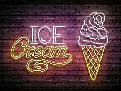 Ice Cream Neon Poster, 100% Vector Art ice cream 3d cafe advertisement banner signboard poster food retro neon vector