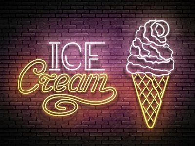 Ice Cream Neon Poster, 100% Vector Art ice cream 3d cafe advertisement banner signboard poster food retro neon vector