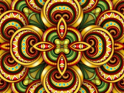 Vector Seamless 3d Pattern. tile kaleidoscope vector realistic seamless pattern ornament ethnic floral doodle 3d