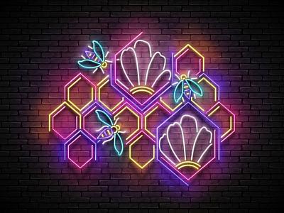 Honey Poster, 100% Vector honeycomb honeybee 3d banner signboard poster food bee honey retro neon vector