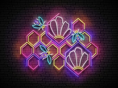 Honey Poster, 100% Vector honeycomb honeybee 3d banner signboard poster food bee honey retro neon vector