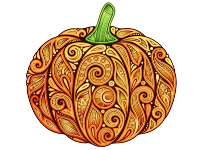 Pumpkin with 3d Ornament, 100% Vector realistic illustration paisley halloween thanksgiving pumpkin pattern floral ornament doodle 3d vector