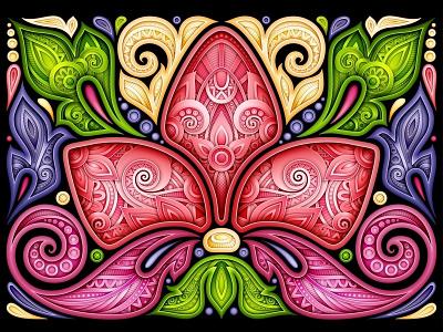 Floral Illustration, 100% Vector indian paisley illustration flower postcard design pattern ornament floral realistic doodle 3d vector