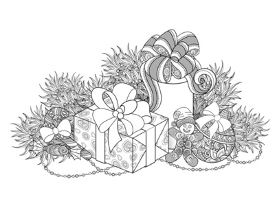 Christmas Coloring Page, №4 poster decorations gift box holiday christmas coloring coloring book pattern floral ornament vector