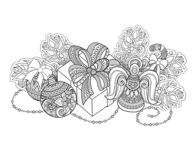 Christmas Coloring Page, №2 gift poster angel decorations holiday christmas coloring coloring book pattern floral ornament vector