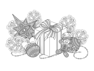 Christmas Coloring Page, №3 gift decorations holiday christmas coloring book coloring poster pattern floral ornament vector