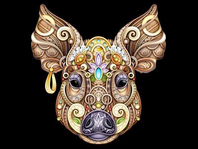 Boar Vector Illustration pattern doodle illustration ornament realistic print aper swine boar pig 3d vector